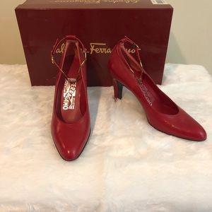Salvatore Ferragamo pralina red pumps ankle strap